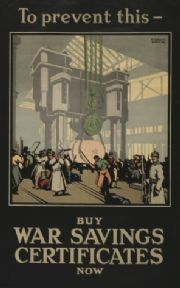 "Vintage WW1 Poster ""To prevent this buy war savings certificates now"""